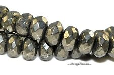 """6X4MM PALAZZO IRON PYRITE GEMSTONE FACETED RONDELLE 6X4MM LOOSE BEADS 15.5"""""""