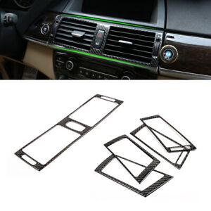 Center/Side Air Condition Panel Cover Carbon Fiber for 08-13 BMW X5 X6 E70 E71