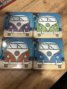 VW CAMPERVAN Coaster Set OF 4 CERAMIC GREEN BLUE ORANGE PURPLE NEW IN BOX