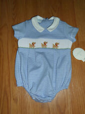 NWT Edgehill Collection Baby Boy 3 Months Puppy Smocked Onepiece Bubble Romper