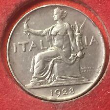 VEIII  BUONO DA 1 LIRA 1928 ITALIA SEDUTA OTTIMA