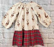 HAPPY By Pink Chicken Girls Sz 6 Plaid Reindeer Christmas Print Dress
