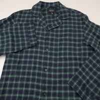 Nordstrom Mens Flannel Pajama Sleep Shirt Size Small Plaid Blue & Green Cotton