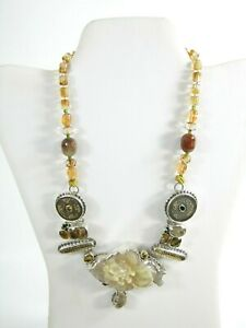 AMY KAHN RUSSELL Carved Opal Citrine Quartz Antique Coin Silver Clasp Necklace