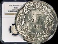 1910 B Switzerland 1/2 Franc (Silver) - NGC MS63 (Choice UNC)