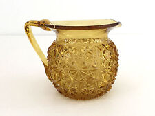 Antique Hobbs, Brockunier & Co. amber glass DAISY AND BUTTON cream pitcher 1880