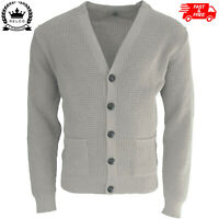 Relco Mens Waffle Knit Cardigan With Football Buttons Stone Mod Ska Retro NEW