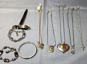 Brighton Lot of Wearable Silvertone Jewelry Bracelets Necklaces W/ Brighton Bag