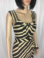 ** JACQUI E ** Size 6 (8) Black Beige Stripe Corporate Occasion Dress - (A783)