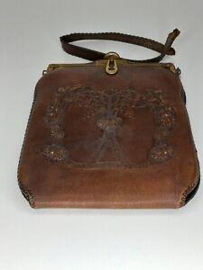 Antique Art Nouveau Teitzel 1900's Leather Tooled Purse Bag with Mirror