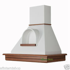 CL90-NBBnb52 Cappa STOCK cucina legno rustica 90 Noce biondo cono nicchia bianco