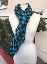 NEW Marc by MARC JACOBS M0003517 Aqua Black Embroidered Check Cotton Blend Scarf