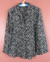 TB04819- COLDWATER CREEK Womens Lightweight Cotton Blouse Black White Geo XL 18