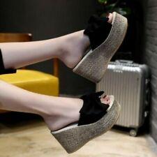 New Women Wedges Platform Slippers Floral Beach Thick High Heel Sandals 34-40 B
