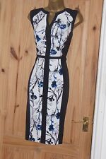 Black white blue floral smart fitted pencil wiggle party shift dress size 14 16