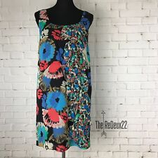 Kensie Dress Size 10 Silk Sheath Multi Colored Floral Embellished Lined