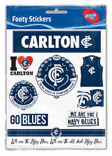 Official AFL Carlton Blues Footy Stickers Sticker Sheet Pack
