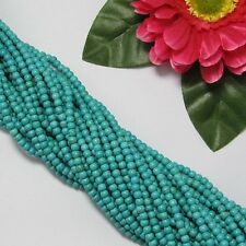 5 Fil Turquoise  Howlite 4mm Ronde Perles