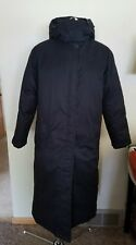 Women's LANDS END Coat Black Long GOOSE DOWN FILLED Size M 10 - 12 R Hood WARM!