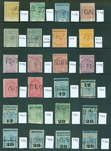 Ceylon Telegraph stamps 1881-1905 used selection on 5 stock cards. Clean lot...