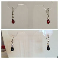 Blood Red / Black Glass Drop Silver Earrings - Christmas Gift - Gothic Halloween