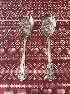 Serving Spoons For Salad Or Fruit Salad Silver Plated Vintage In Original Box
