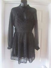 BNWT  LIPSY BLACK LACE EMBOIDERY CHIFFON TEA DRESS SIZE 10