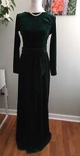 Desir Couture Bridesmaid Velvet Gown Dress Maxi LS Slit Deep Open Back Green 4