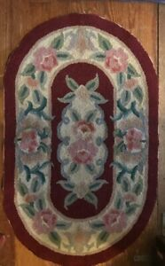 """Vintage Oval Hooked Rug Approx. 20.5"""" x 33.5"""" Multi Colored Floral"""