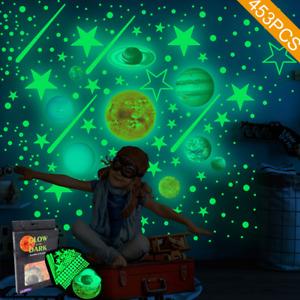 Stelle pianeti e luna adesive fluorescenti si illuminano al buio da parete 453pz