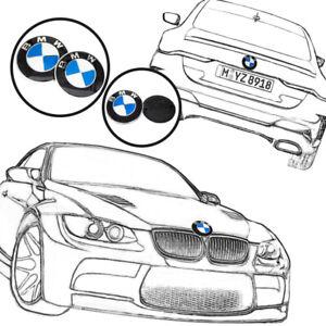 2PCS Front Hood 82mm & Rear Trunk 74mm BMW Badge Emblem 51148132375 Replacement
