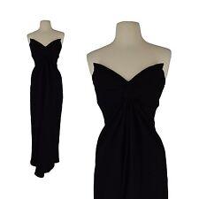True Vtg 1980s 80's Black Victor Costa Formal Cocktail Strapless Designer Dress