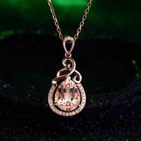 Elegant 925 Sterlng Silber Damen Halskette Wassertropfen Kristall Anhänger Trend