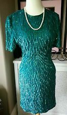 Bespoke Custom Emerald Sequins Dress, Sz 4 - Worn Once - $1500++