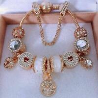 Crystal Flowers Metal Charm Bracelets Women Elegant Jewelry Gold Floral Wristlet