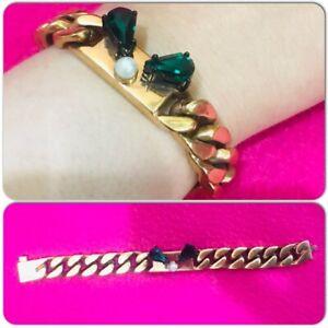 FENDI Gourmette Monster Metallo Pearl Green Rhinestone Chain Bronze Bracelet
