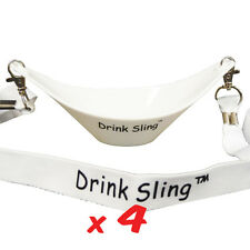 THE ORIGINAL DRINK SLING HANDS FREE WHITE WINE GLASS HOLDER SET OF 4