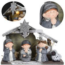 LED Weihnachtskrippe 4 Figuren Krippe Beleuchtet Krippenfiguren Stall Holz Deko