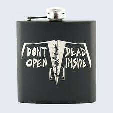 Rick Grimes, The Walking Dead Inspired, Stainless Steel Black 6oz Hip Flask