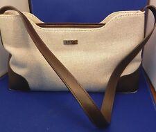 Preston & York Tan & Brown Trim Satchel Bag Medium Purse Ladies Pocketbook Euc