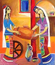 "ORIG. FOLK ART PAINTING ""Khnotsi"" women churning butter- RUSSIAN ARMENIAN Artist"