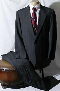 Hickey Freeman Men's Charcoal Striped Flap Notch Single Vent Suit Size 42L W36