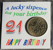 21st LUCKY SIXPENCE COIN HAPPY BIRTHDAY KEEPSAKE GIFT OTHER AGES AVAILABLE
