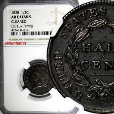 US Copper 1828 Classic Head Half Cent 1/2 c. NGC AU DET. Ex.Lux Family Collect.