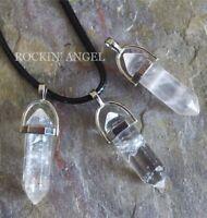 Clear Crystal Quartz Pendulum Pendant or Choker Necklace Gift Reiki Healing