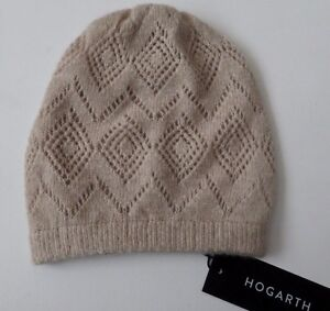 Cashmere beanie hat natural beige pointelle lacy ladies womens NEW from Scotland