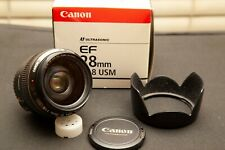 CANON EF 28mm f1.8 USM MINT +++ WITH ORIGINAL HOOD AND B+W F-PRO FILTER
