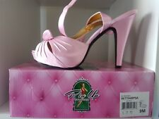 Pinup Couture Shoes pink satin Bettie size 9