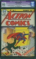 ACTION COMICS #7 SUPERMAN 1938 cgc ng 2nd superman cover appearance
