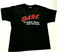 Mens Vintage DARE to Resist Drugs and Violence Hanes Black T Shirt Size Large